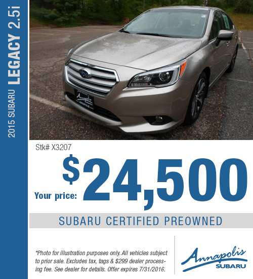 Save with this Annapolis, MD special on a Certified Pre-Owned 2015 Subaru Legacy 2.5i available at Annapolis Subaru