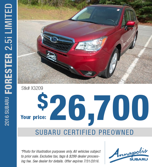 Save with this Annapolis, MD special on a Certified Pre-Owned 2016 Subaru Forester 2.5i Limited available at Annapolis Subaru