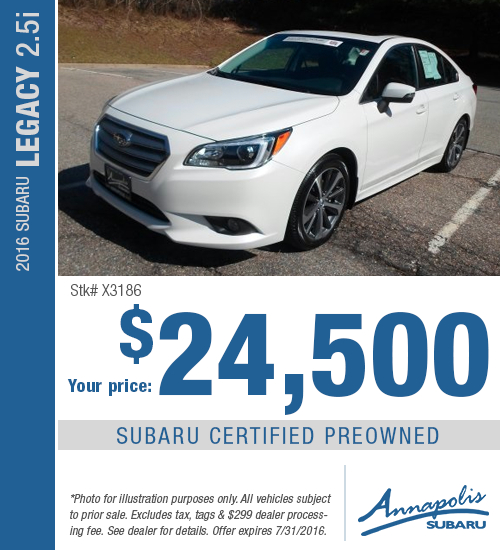 Save on a certified pre-owned 2016 Subaru Legacy 2.5i in Anne Arundel County, MD