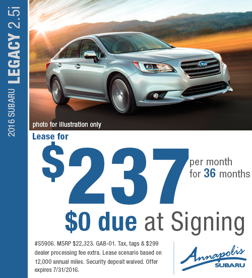2016 Subaru Legacy 2.5i Special Lease Offer in Annapolis, MD