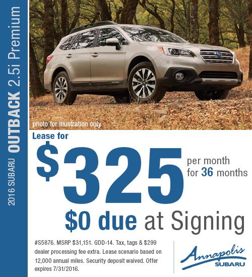 2016 Subaru Outback 2.5i Premium Lease Special in Annapolis, MD