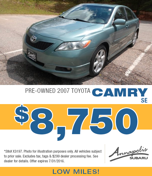 Save with this Annapolis, MD special on a quality used 2007 Toyota Camry SE available at Annapolis Subaru