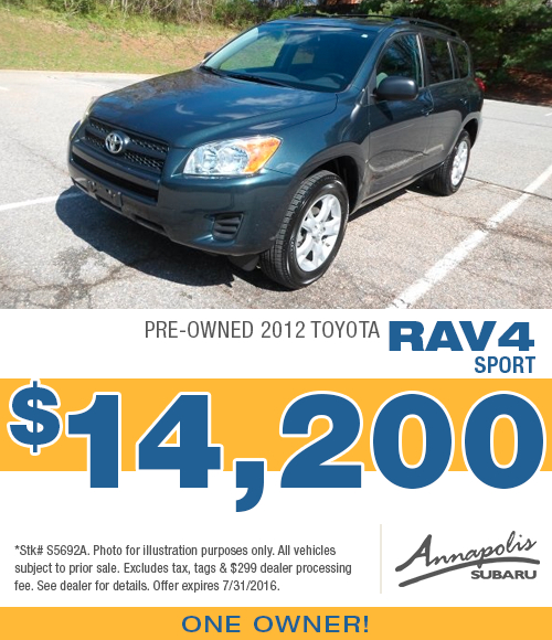 Save with this Annapolis, MD special on a quality used 2012 Toyota RAV4 Sport available at Annapolis Subaru
