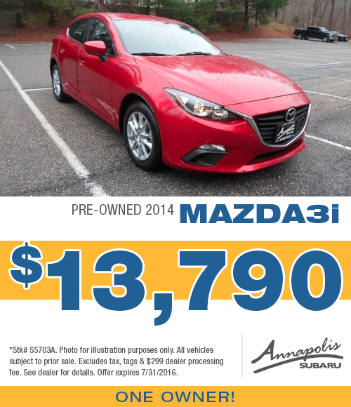 Save with this Annapolis, MD special on a quality used 2014 Mazda3i available at Annapolis Subaru