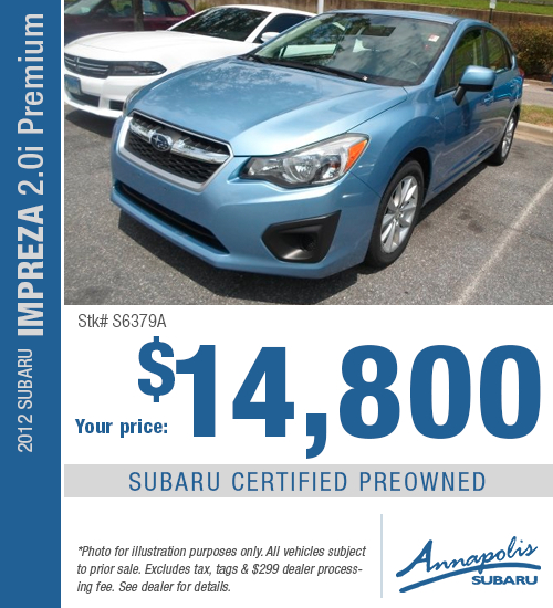 Save with this special offer on a high-quality pre-owned 2012 Subaru Impreza 2.0i Premium in Annapolis, MD
