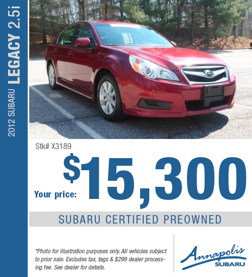 For a limited time, save on this certified pre-owned 2012 Subaru Legacy 2.5i model with this special purchase offer at Annapolis Subaru in Annapolis, MD. Click to view vehicle in inventory.