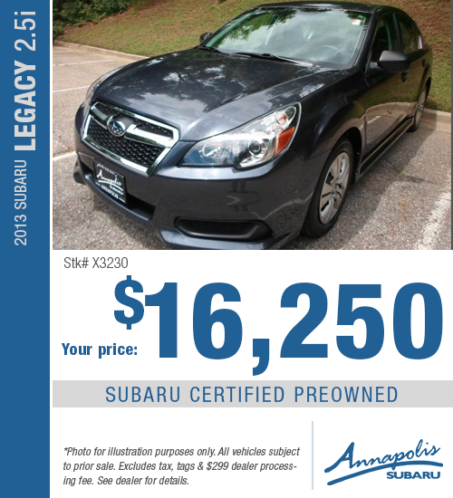 Save with this special offer on a high-quality pre-owned 2013 Subaru Legacy 2.5i in Annapolis, MD