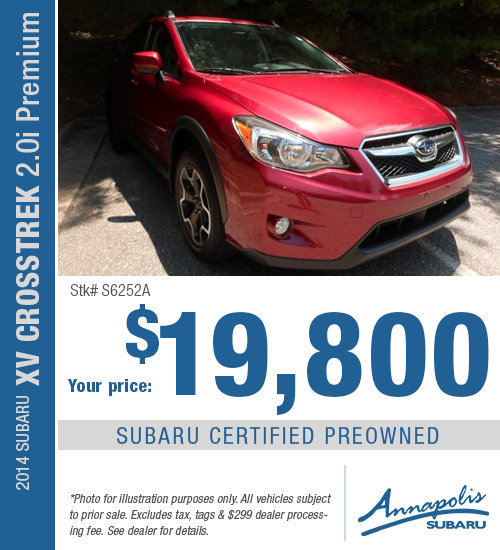 Right now you can save on this certified pre-owned 2014 Subaru XV Crosstrek 2.0i Premium model with this special purchase offer at Annapolis Subaru in Annapolis, MD. Click to view vehicle in inventory.