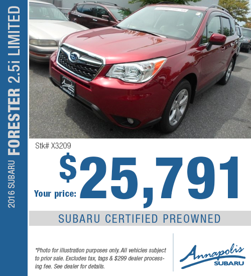 For a limited time, save on this certified pre-owned 2016 Subaru Forester 2.5i Limited model with this special purchase offer at Annapolis Subaru in Annapolis, MD. Click to view vehicle in inventory.