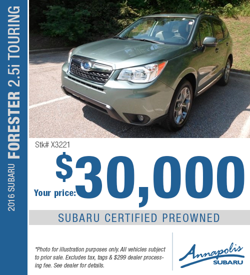 Save with this special offer on a high-quality pre-owned 2016 Subaru Forester 2.5i Touring in Annapolis, MD