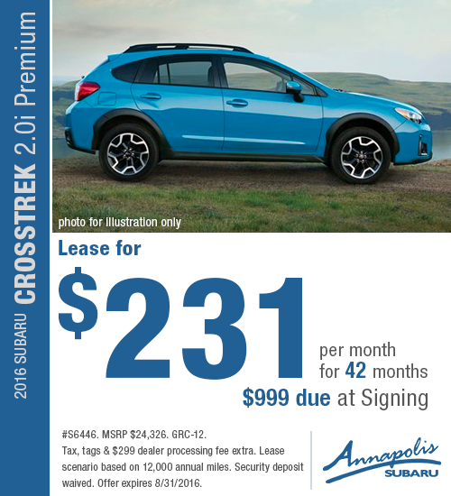 Right now you can save on a a new 2016 Subaru Crosstrek 2.0i Premium with this special lease offer at Annapolis Subaru in Annapolis, MD. Click to view vehicle in inventory.