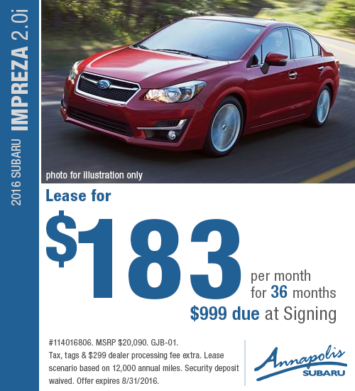 Save on a a new 2016 Subaru Impreza 2.0i with this special lease offer at Annapolis Subaru in Annapolis, MD. Click to view vehicle in inventory.