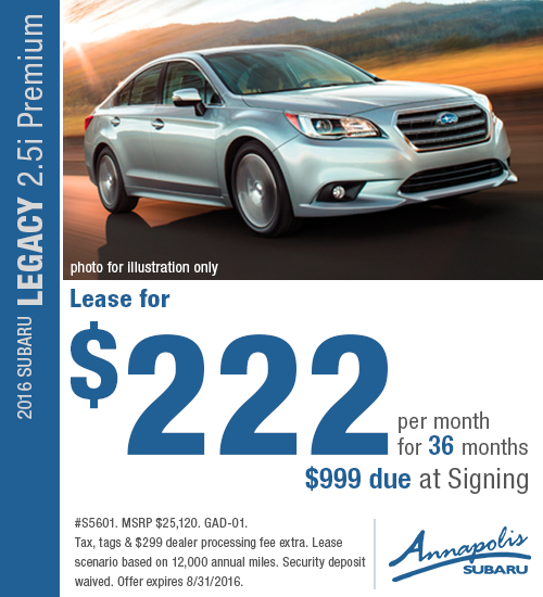 Save on a a new 2016 Subaru Legacy 2.5i Premium with this special lease offer at Annapolis Subaru in Annapolis, MD. Click to view vehicle in inventory.
