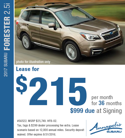 Right now you can save on a a new 2017 Subaru Forester 2.5i with this special lease offer at Annapolis Subaru, serving Annapolis, MD. Click to view vehicle in inventory.