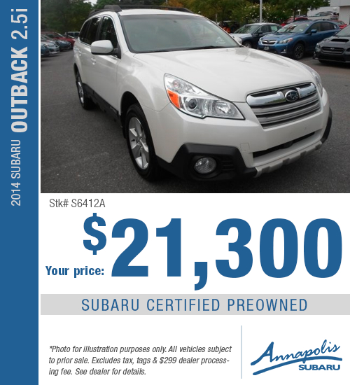 Annapolis Subaru Certified Pre-Owned 2014 Subaru Outback 2.5i Discount Special