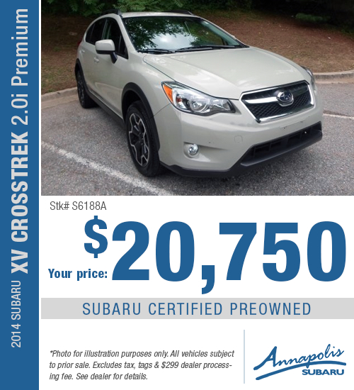 For a limited time, save on this certified pre-owned 2014 Subaru XV Crosstrek 2.0i Premium model with this special purchase offer at Annapolis Subaru in Annapolis, MD. Click to view vehicle in inventory.