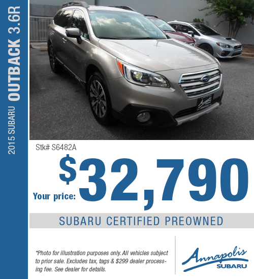 Certified Pre-Owned 2015 Subaru Outback 3.6R Discount Purchase Offer serving Annapolis, MD