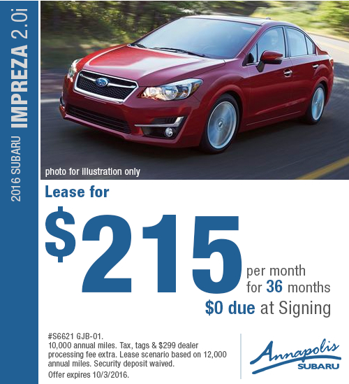 Save with this Annapolis, MD special offer on a new 2016 Subaru Impreza 2.0i