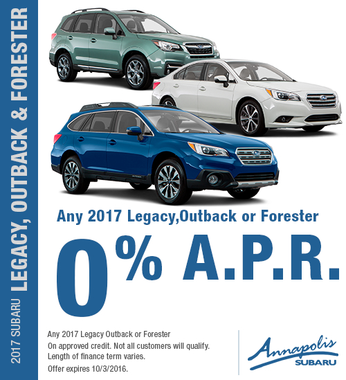 Save with this Annapolis, MD special offer on Any New 2017 Subaru Legacy Outback or Forester