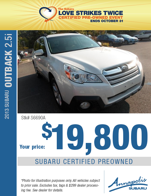 Save on a quality Certified Pre-Owned 2014 Subaru Outback in Anne Arundel County, MD
