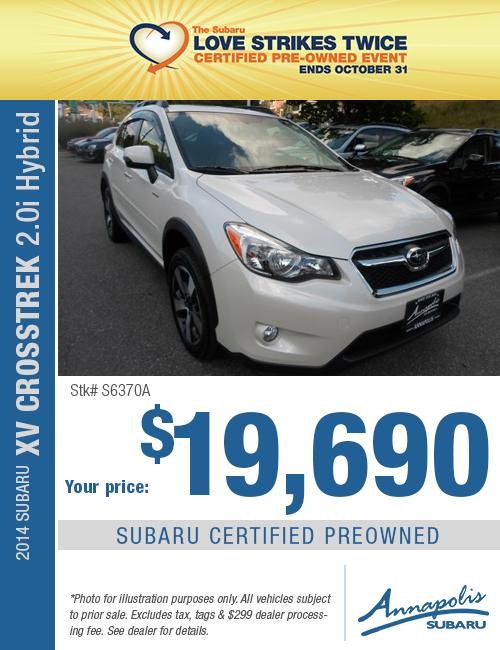 Save on a quality Certified Pre-Owned 2014 Subaru Crosstrek Hybrid in Anne Arundel County, MD