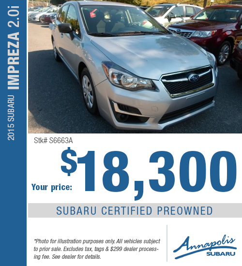 Save on a quality, certified pre-owned 2015 Subaru Impreza in Anne Arundel County, MD