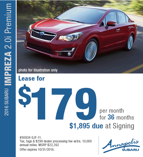 Save with this Annapolis, MD special lease offer on a new 2016 Subaru Impreza
