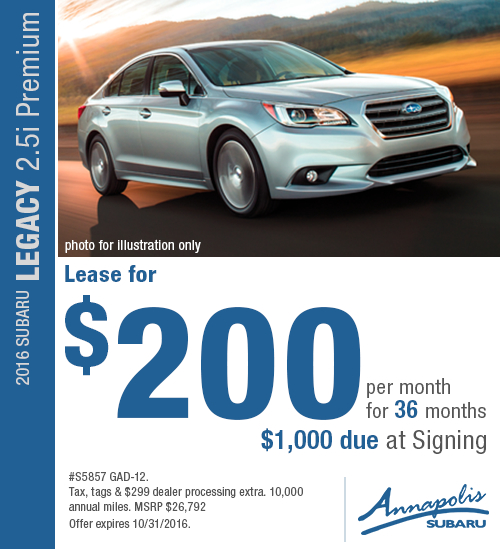 Save with this Annapolis, MD special lease offer on a new 2016 Subaru Legacy
