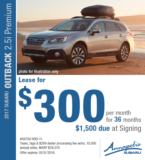 Save with this Annapolis, MD special lease offer on a new 2017 Subaru Outback