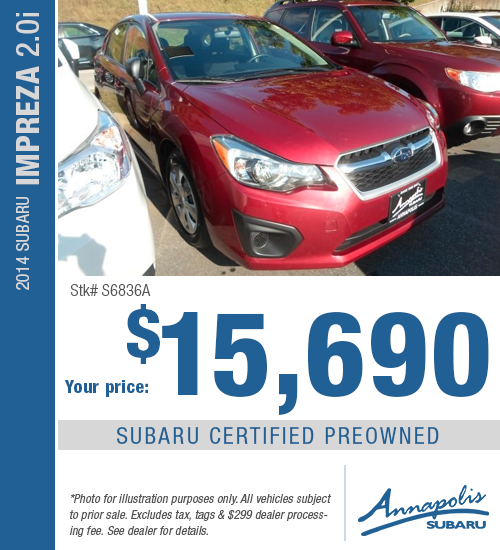 2014 Subaru Impreza Certified Pre-Owned Special in Annapolis, MD