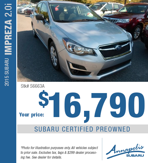 2015 Subaru Impreza Certified Pre-Owned Special in Annapolis, MD
