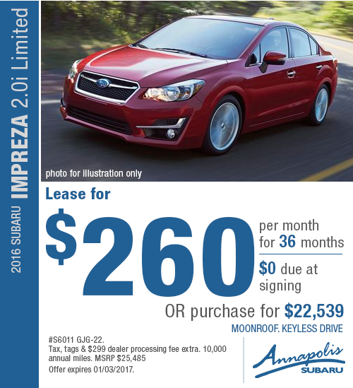 Right now you can lease a new 2016 Subaru Impreza 2.0i Limited and receive great savings with this special lease offer in Annapolis, MD