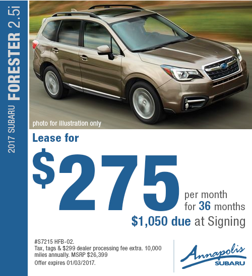 Take advantage of this special offer and save on a new 2017 Subaru Forester 2.5i in Annapolis, MD