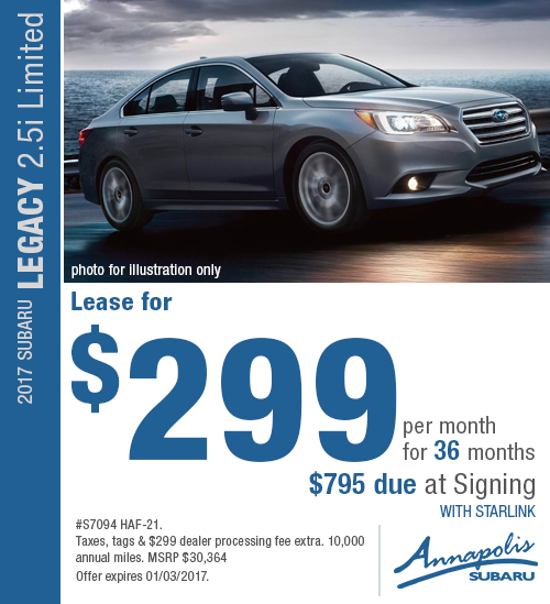 For a limited time you can save on an all-new 2017 Subaru Legacy 2.5i Limited with this special lease offer in Annapolis, MD