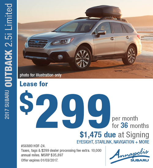 Receive great savings on a new 2017 Subaru Outback 2.5i Limited with this special lease offer in Annapolis, MD