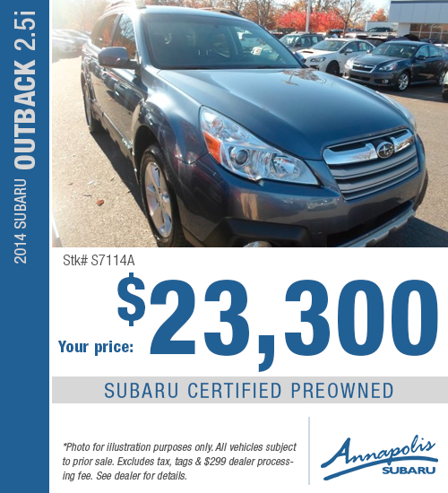 2014 Subaru Outback 2.5i Certified Pre-Owned Special in Annapolis, MD