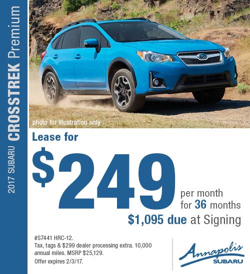 Take advantage of special savings on this new 2017 Subaru Crosstrek Premium lease in Annapolis, MD