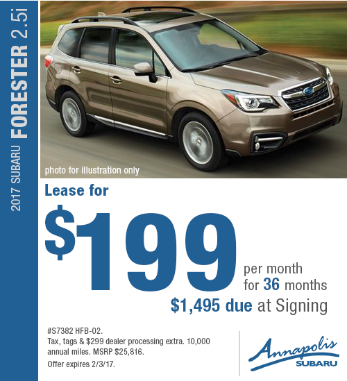 Take advantage of special savings on this new 2017 Subaru Forester 2.5i lease in Annapolis, MD