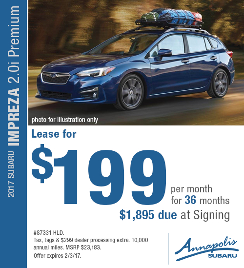 Take advantage of special savings on this new 2017 Subaru Impreza Premium lease in Annapolis, MD