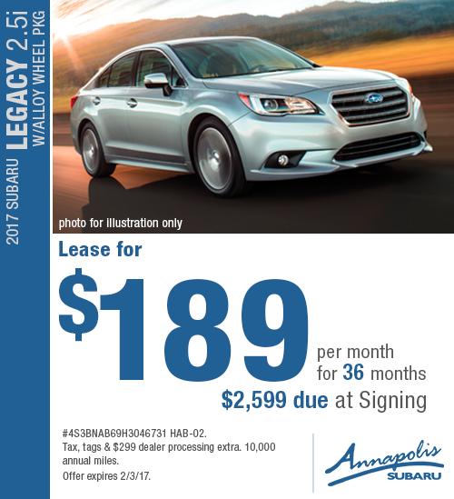 Take advantage of special savings on this new 2017 Subaru Legacy 2.5i Premium lease in Annapolis, MD