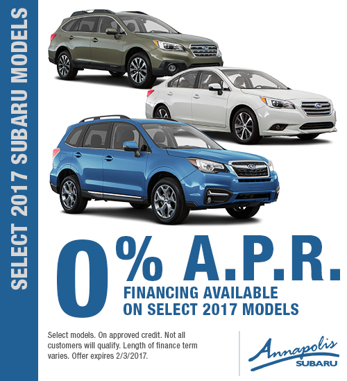Take advantage of special finance savings on Select 2017 Subaru Models in Annapolis, MD