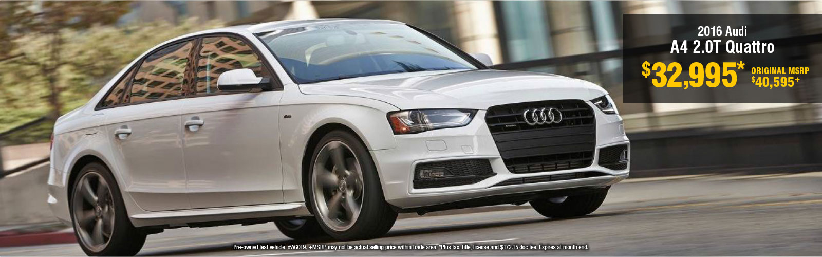 2016 Audi A4 Demo Special Savings Offer in Bloomington-Normal, IL