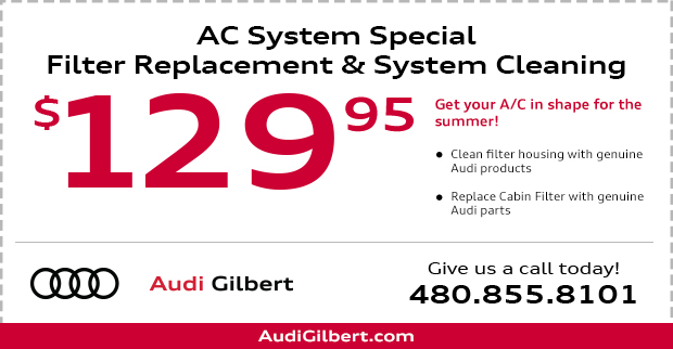 A/C System Pollen Filter Replacement and System Cleaning Service Special at Audi Gilbert