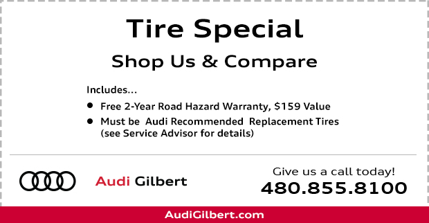 Save with our Audi Tire replacement service this month at Audi Gilbert