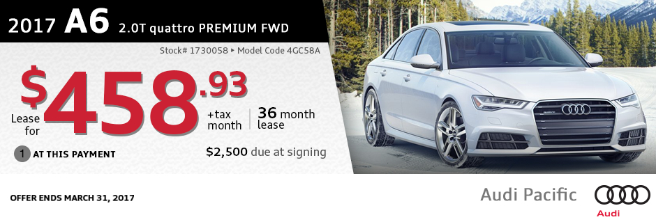 New 2017 Audi A6 2.0T quattro Premium Lease Special at Audi Pacific in Torrance, CA