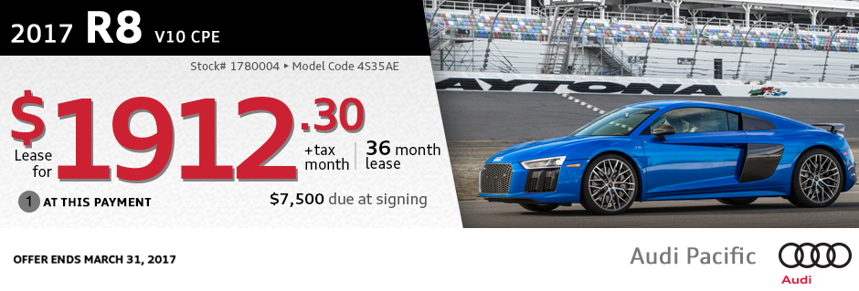 New 2017 Audi R8 V10 CPE Lease Special at Audi Pacific in Torrance, CA