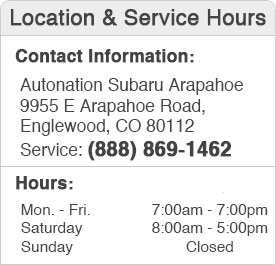 Autonation Subaru Arapahoe Service Hours and Location Englewood, CO