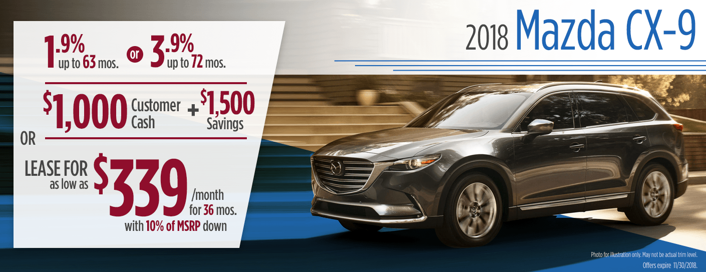 2018 Mazda CX 9 Finance Or Lease Special In Butler, PA