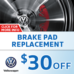 Save on our Brake Pad Replacement service on your Volkswagen with this special service offer in Omaha, NE. Click for details.