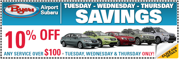 Click to save on Subaru service in Columbus, OH on Tuesday, Wednesday or Thursday